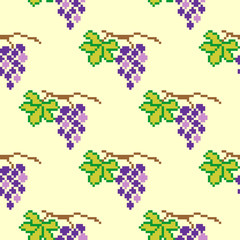Seamless pixel pattern with grapes on yellow background