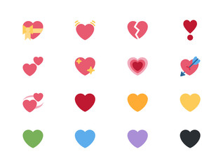 Heart love emojis icons, vector illustration emoticons, symbols collection, set, pack