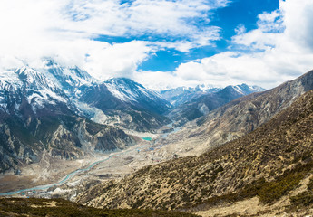Panorama of the mountain river Bagmati near the village of Manang, Nepal.