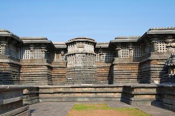 Ornate wall panel relief Hoysaleshwara temple, Halebidu, Karnataka. View from East.