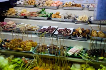 Malaysian satay celup skewer selection