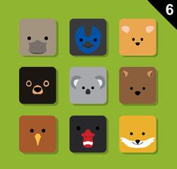 Flat Animal Faces Application Icon Cartoon Vector Set 6 (Australia)