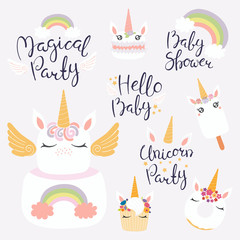 Set of hand written baby shower lettering quotes, desserts with cute unicorn faces. Isolated objects on light background. Vector illustration. Design concept for banner, invitation, greeting card.