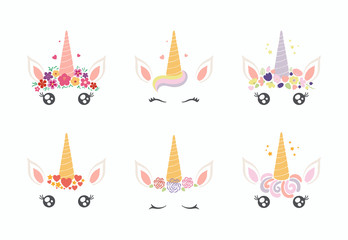 Poster Illustrations Set of different cute funny unicorn face cake decorations. Isolated objects on white background. Flat style design. Concept for children print.