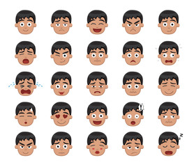Boy Emotion Faces Vector Illustration 1
