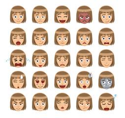 Girl Emotion Faces Cartoon Vector Illustration 1