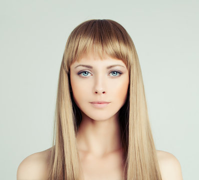 Young blonde woman fashion model with healthy hair, portrait