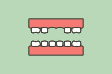missing tooth, space between teeth - dental cartoon vector flat style