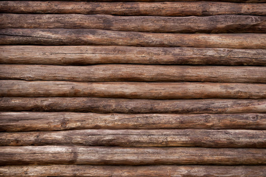 the wall of a log house