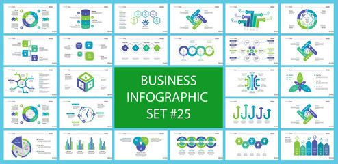 Informational chart design set for business presentation concept. Can be used for workflow layout, annual report, web design. Process chart, option chart, flowchart, comparison graph, bar graph