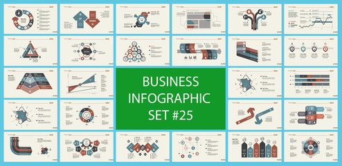 Set of strategy or planning concept infographic charts. Business design elements for presentation slide templates. For corporate report, advertising, banner, and brochure design