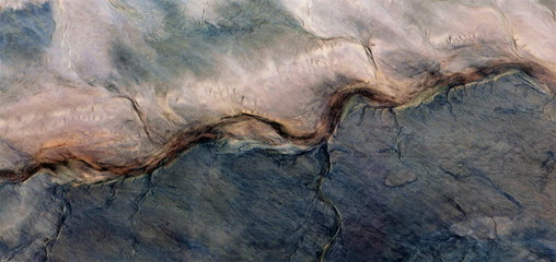 the long and curved path, abstract photography of the deserts of Africa from the air, bird's eye view, abstract expressionism, contemporary art, optical illusions,