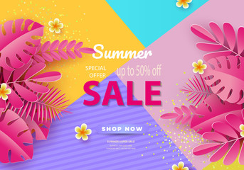 Summer sale background for banners, Pink palm leaves on a bright background. Template for flyer, invitation, poster, brochure, discount on voucher.