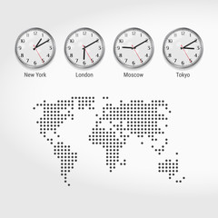 World Time Zones Clocks. Current Time in Famous Cities. Local Time Around the World. Dotted Map of the World. Vector Art