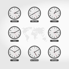 World Time Clocks. Current Time in Famous World Cities. Hotel or Stock Exchange Wall Clocks. Local Time Around the World