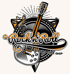 Rock and roll guitar music emblem