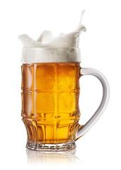 Splash in beer mug
