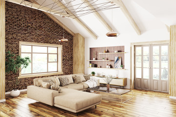 Interior of modern living room 3d rendering