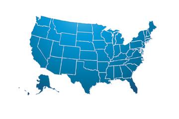 Mapa azul de Estados Unidos de América.