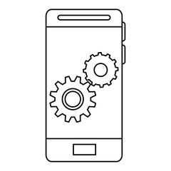 smartphone with gears settings