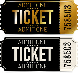 Black and gold ticket