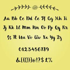 Hand written brush alphabet