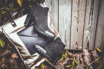 Black stylish women's boots vintage photo