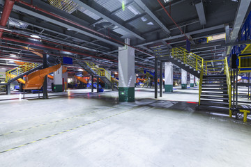 The interior of a large logistics center