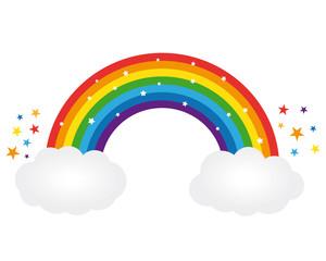 Beautiful starry rainbow illustration. Vector icon.