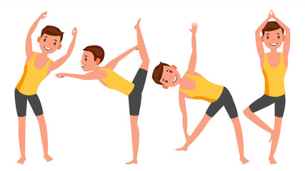 Yoga Man Poses Set Vector. Girl. Yoga Poses. Doing Yoga Workout. Flat Cartoon Illustration