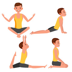 Yoga Man Poses Set Vector. Girl. Yoga Exercise. Doing Fitness, Sport. Flat Cartoon Illustration