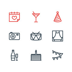 illustration of 9 party icons line style. Editable set of birthday cake, party hat, scene and other icon elements.