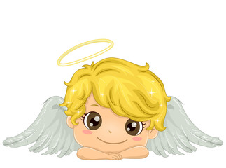 Kid Boy Angel Illustration