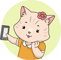 Cat Selfie Mobile Illustration