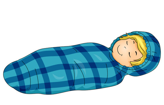 Kid Boy Sleeping Bag Illustration