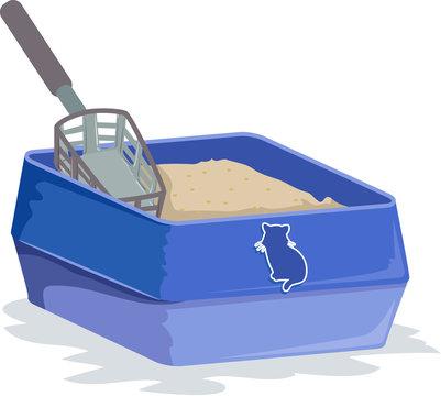 Cat Sand Box Illustration