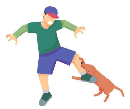 Dog Bite Man Illustration