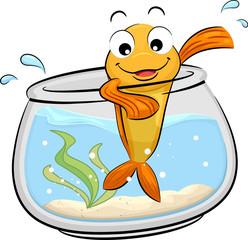 Fish Mascot Wave Fish Bowl Illustration