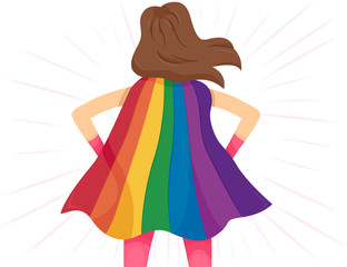 Super Hero Girl Rainbow Cape Lgbt Illustration