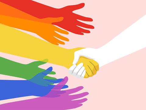 Hands Lgbt Support Group Illustration