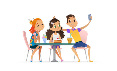 Two girls and boy meeting at the cafe a and taking selfie. Teenagers friends at the restaurant taking photo on phone. Smiling students having coffee-break and taking self-portrait.