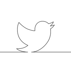 Vector image of a continuous line drawing bird.