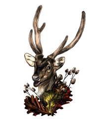 spotted deer head with neck decoration in the form of a wreath of oak leaves and dry grass, sketch vector graphics color illustration