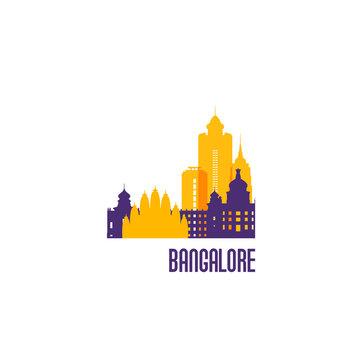 Bangalore city emblem. Colorful buildings. Vector illustration.