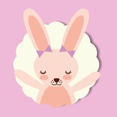 cute portrait pink rabbit bow decoration