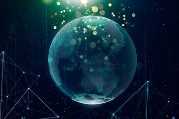 Digital glass planet earth with hologram design. Global business technologies concept. 3D rendering  .
