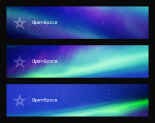 Set of horizontal banners with beautiful starry sky and Northern lights. Vector illustration with aurora borealis. Abstract colorful headers for website