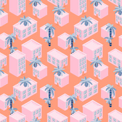 Pink house blocks seaside seamless vector pattern. Seaside town with palms on roofs pink background.