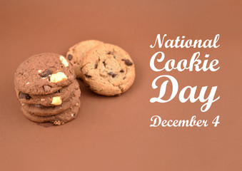 National Cookie Day illustration. Chocolate Cookies images. Cookies on a brown background. Important day