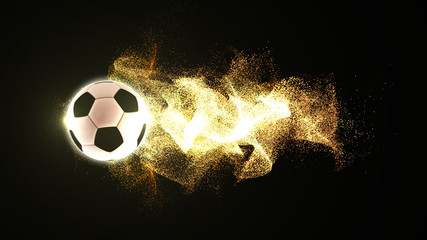 A 3D rendering of a football or  soccerball with flowing fire particles trail on a black background